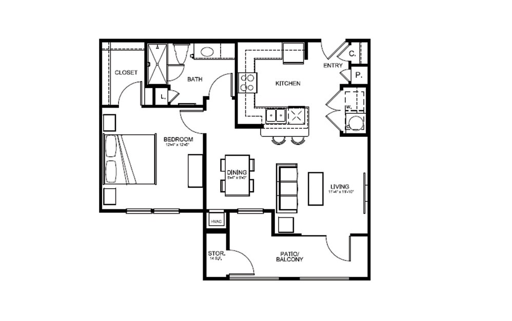 A1 - 1 bedroom floorplan layout with 1 bath and 731 square feet (1st floor 2D)