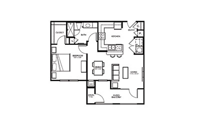 A1 - 1 bedroom floorplan layout with 1 bath and 731 square feet