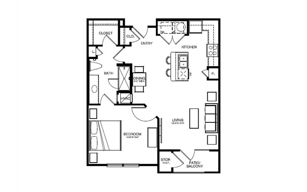 A2 - 1 bedroom floorplan layout with 1 bath and 764 square feet (1st floor 2D)