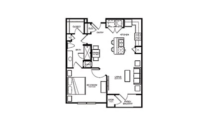A2 - 1 bedroom floorplan layout with 1 bath and 764 square feet