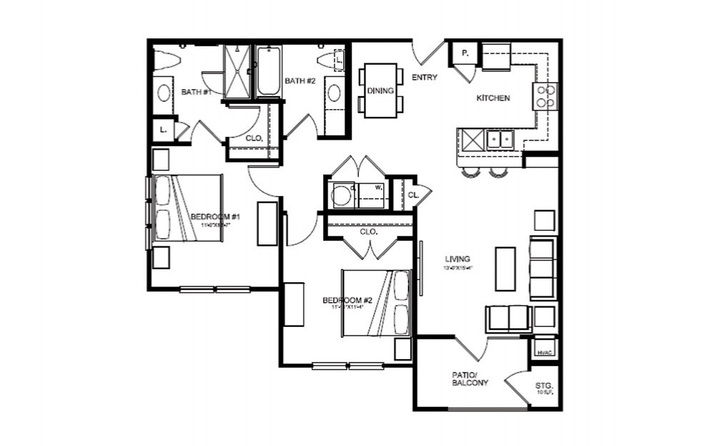 B1 - 2 bedroom floorplan layout with 2 bath and 1026 square feet (1st floor 2D)