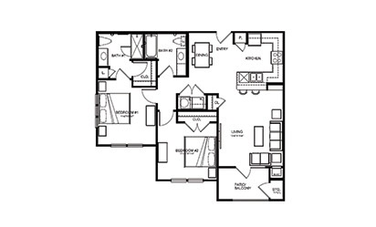 B1 - 2 bedroom floorplan layout with 2 bath and 1026 square feet