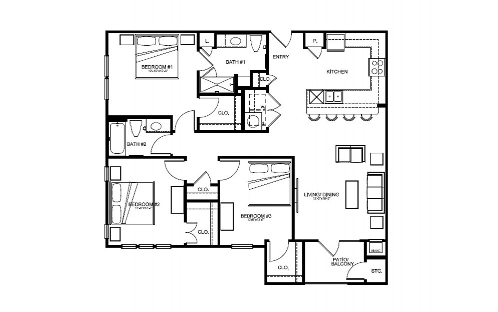 C1 - 3 bedroom floorplan layout with 2 bath and 1307 square feet (1st floor 2D)