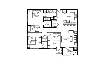 C1 - 3 bedroom floorplan layout with 2 bath and 1307 square feet