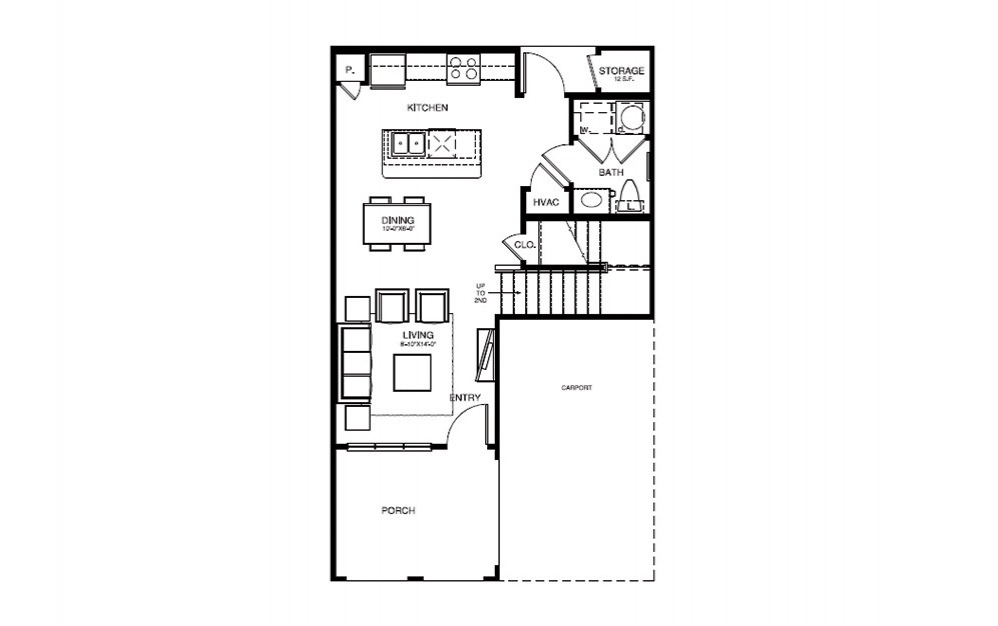 TH1 - 2 bedroom floorplan layout with 2.5 bath and 1225 square feet (1st floor 2D)