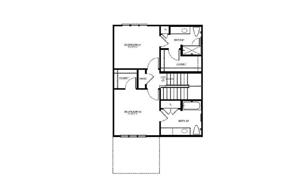 TH1 - 2 bedroom floorplan layout with 2.5 bath and 1225 square feet (2nd floor 2D)