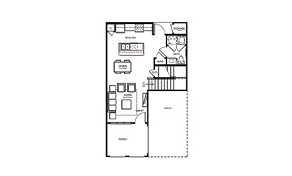 TH1 - 2 bedroom floorplan layout with 2.5 bath and 1225 square feet