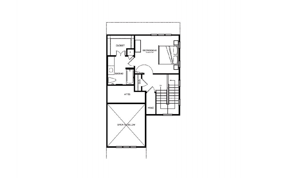 TH2 - 2 bedroom floorplan layout with 2 bath and 1264 square feet (2nd floor 2D)