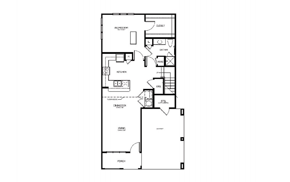 TH2 - 2 bedroom floorplan layout with 2 bath and 1264 square feet (1st floor 2D)