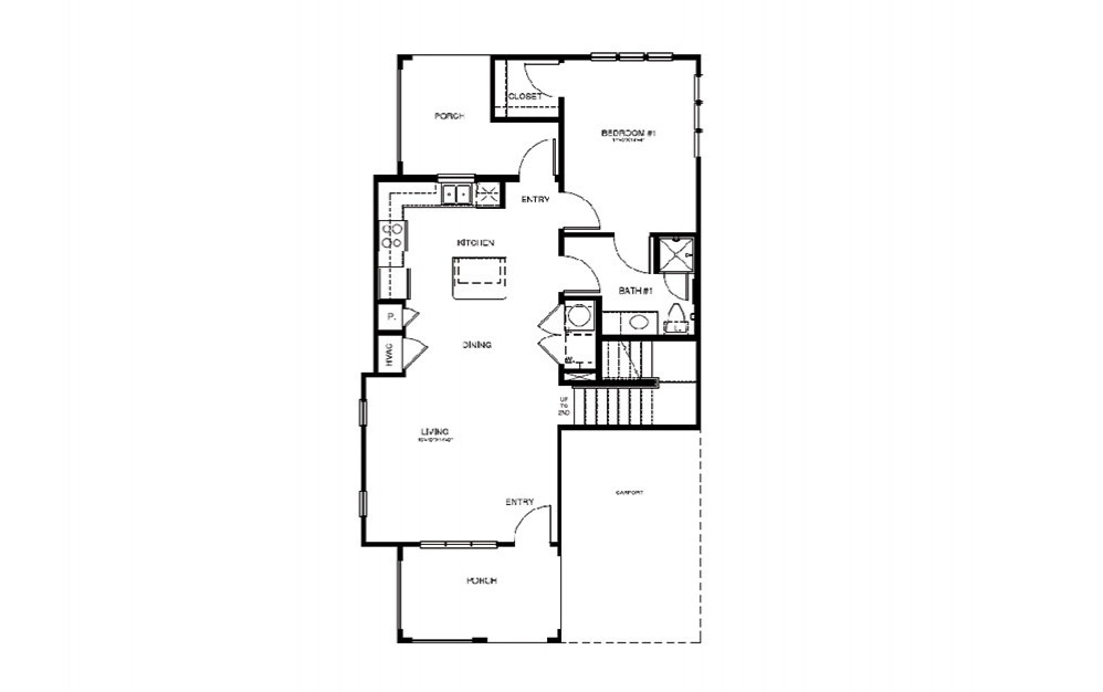 TH3 - 3 bedroom floorplan layout with 2 bath and 1413 square feet (1st floor 2D)