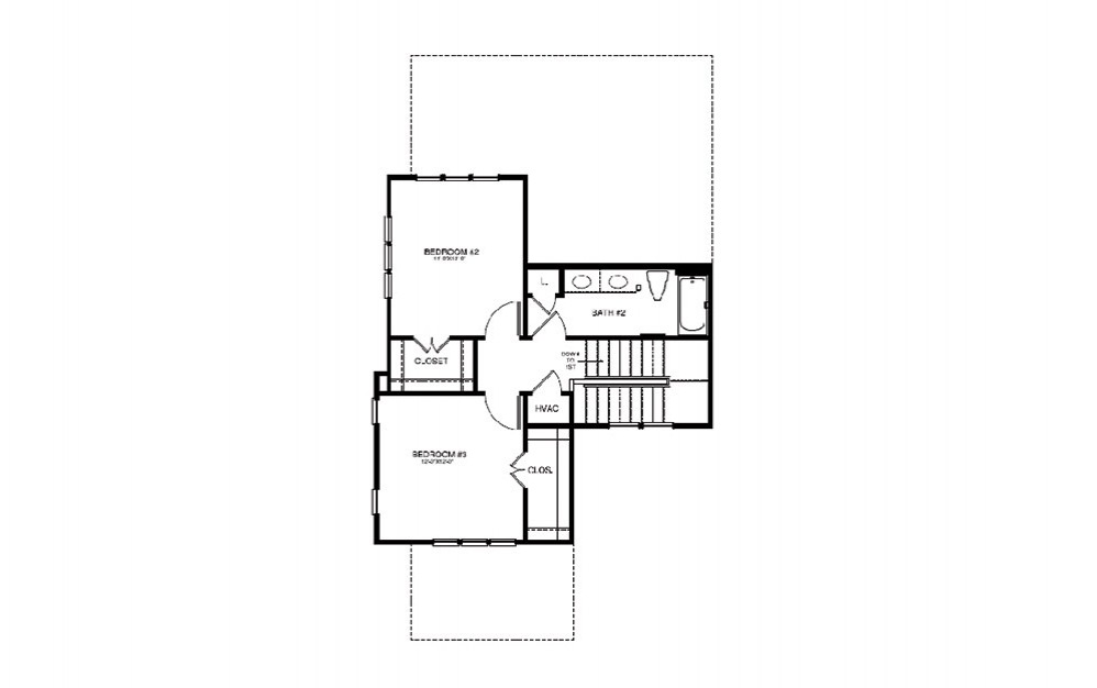 TH3 - 3 bedroom floorplan layout with 2 bath and 1413 square feet (2nd floor 2D)