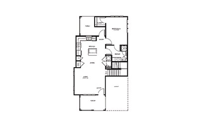 TH3 - 3 bedroom floorplan layout with 2 bath and 1413 square feet